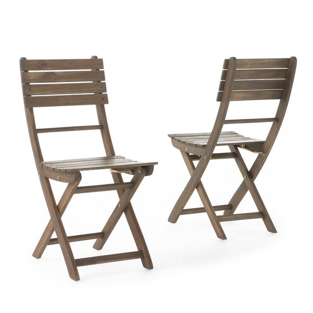 Positano Set of 2 Acacia Wood Foldable Dining Chairs - Gray Finish - Christopher Knight Home