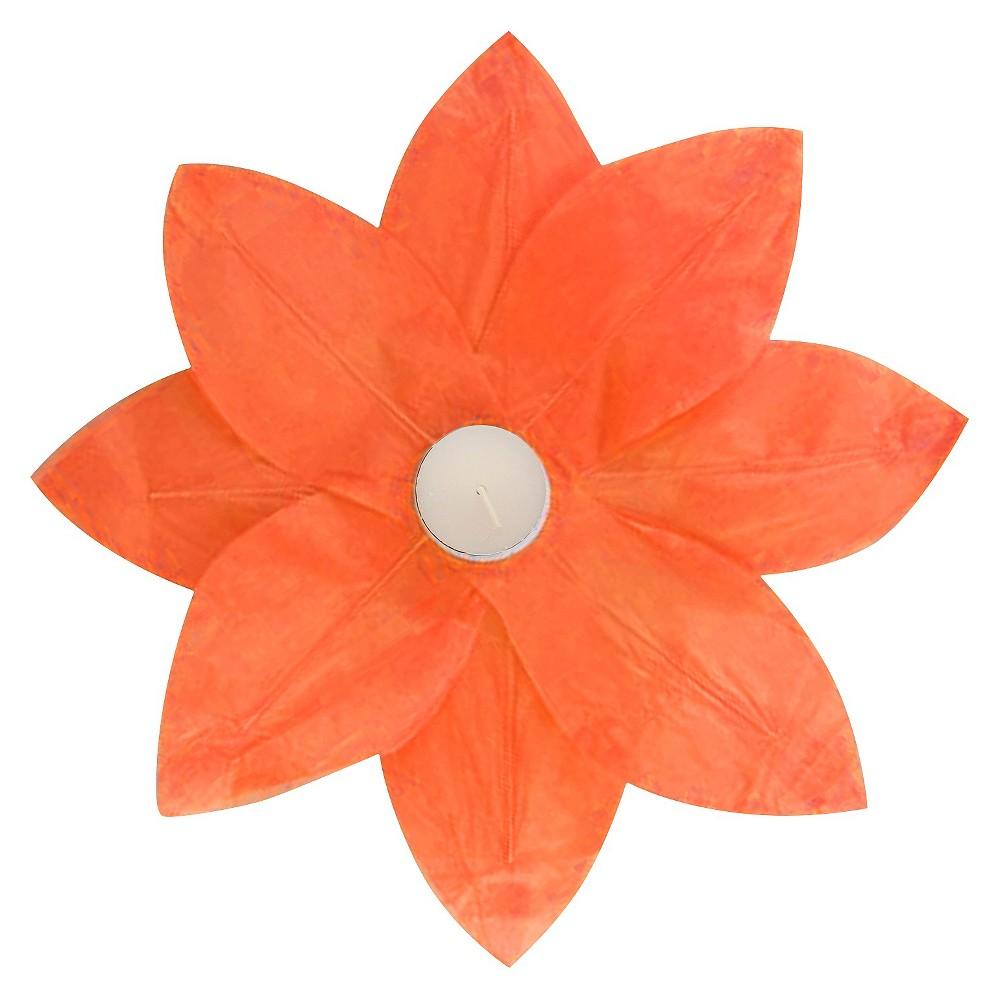 6ct Lumabase Orange Floating Lotus Paper Lantern