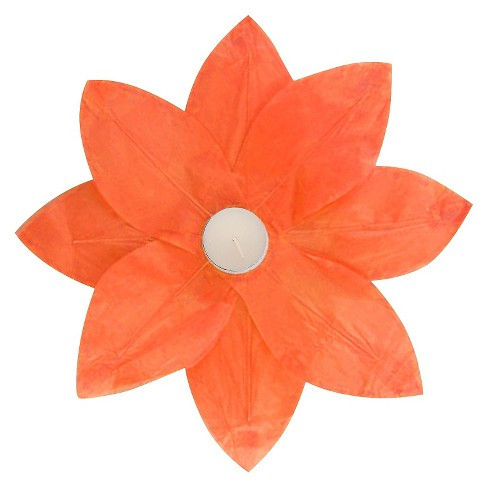 6ct Floating Lotus Paper Lantern Orange - image 1 of 3