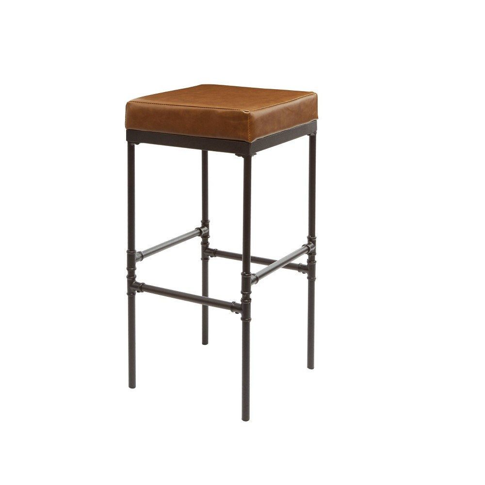 "Image of ""29"""" Powell Pipe Fitting Upholstered Barstool Congnac - Silverwood, Gray Brown"""
