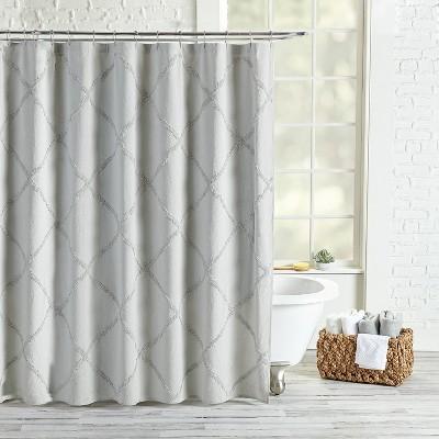 Chenille Lattice Shower Curtain Gray - Destinations