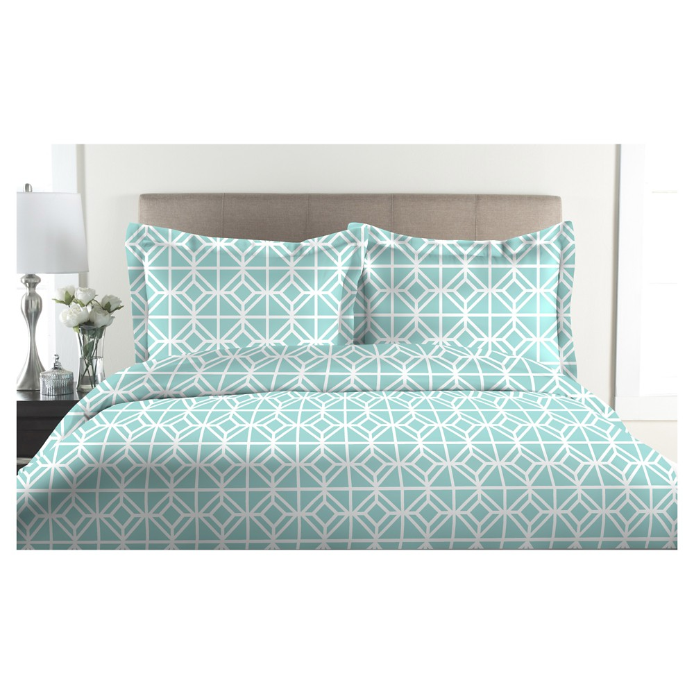 Image of 300tc St. Charles 100% Cotton Print Duvet Set (Full/Queen) Aqua (Blue)
