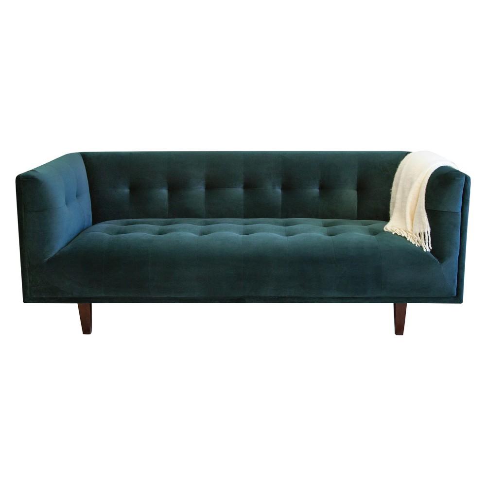 Boston Chesterfield Velvet Sofa Emerald Green - Abbyson Living