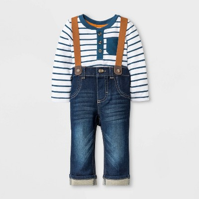 Baby Boys' 2pc Bodysuit and Repreve Denim Jeans Set - Cat & Jack™ Blue/White 0-3M