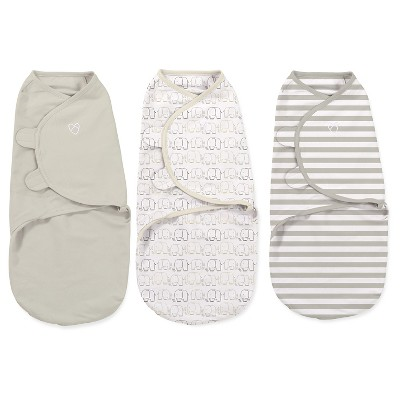 SwaddleMe® Original Swaddle 3pk - Elephant/Beige/Stripe (S, 0-3mo)