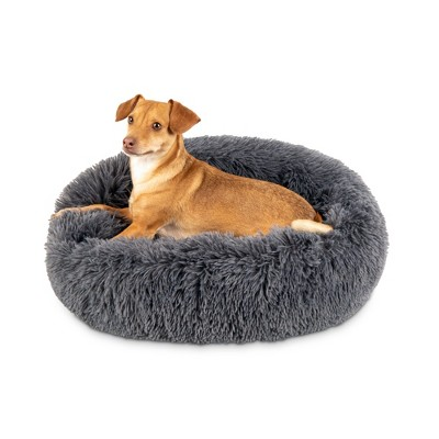 Best Choice Products 23in Dog Bed Self-Warming Plush Shag Fur Donut Calming Pet Bed Cuddler - Gray