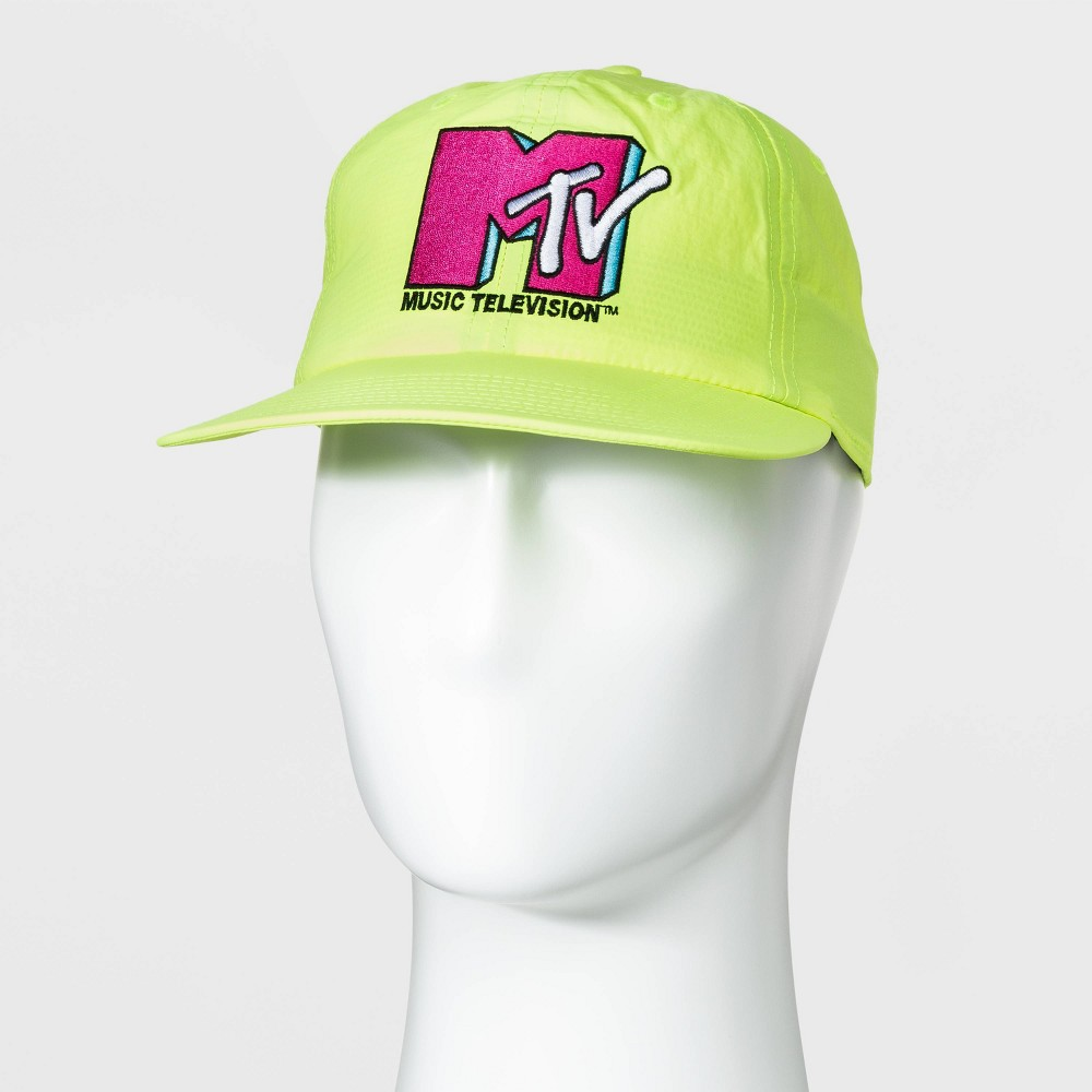 80s Hats, Caps, Visors, Buckets | Women and Men Men39 MTV Flat Brim Baeball Hat - Neon $14.99 AT vintagedancer.com