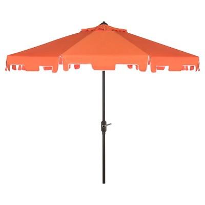 Zimmerman 9' Market Umbrella - Orange / White - Safavieh®