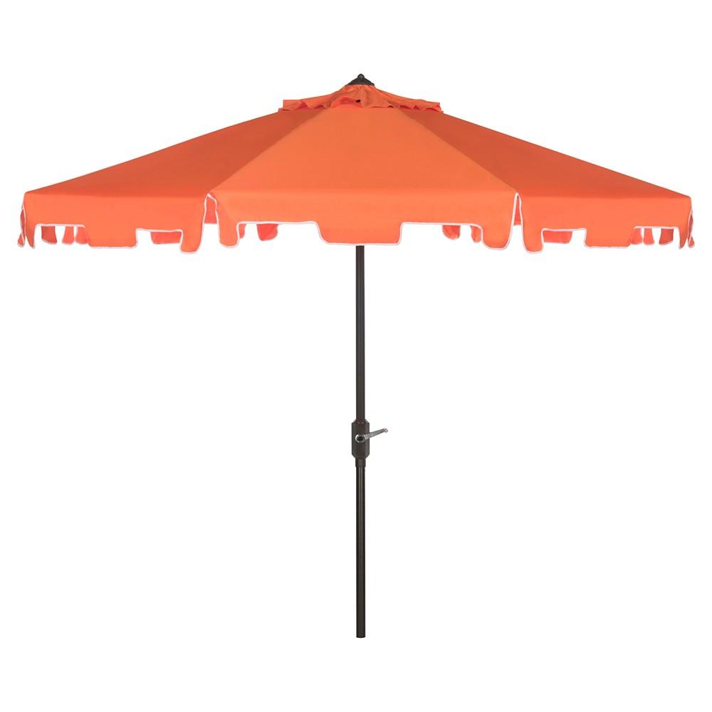 Zimmerman 9 39 Market Umbrella Orange White Safavieh