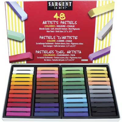 Sargent Art Square Chalk Pastel Set in Tray, 2-14/25 x 2/5 in, Assorted Color, set of 48