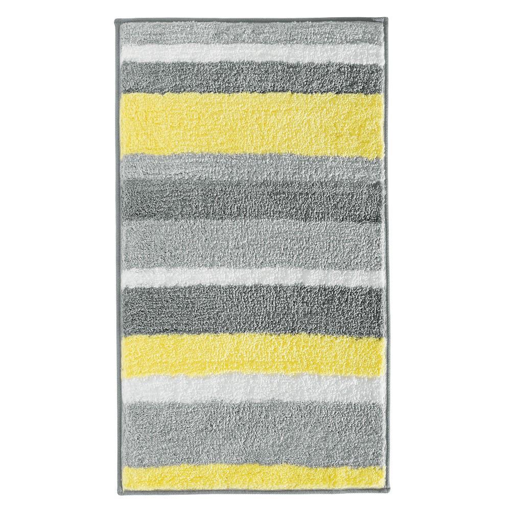 "Image of ""34""""x21"""" Stripz Bath Rug Gray/Yellow - InterDesign"""