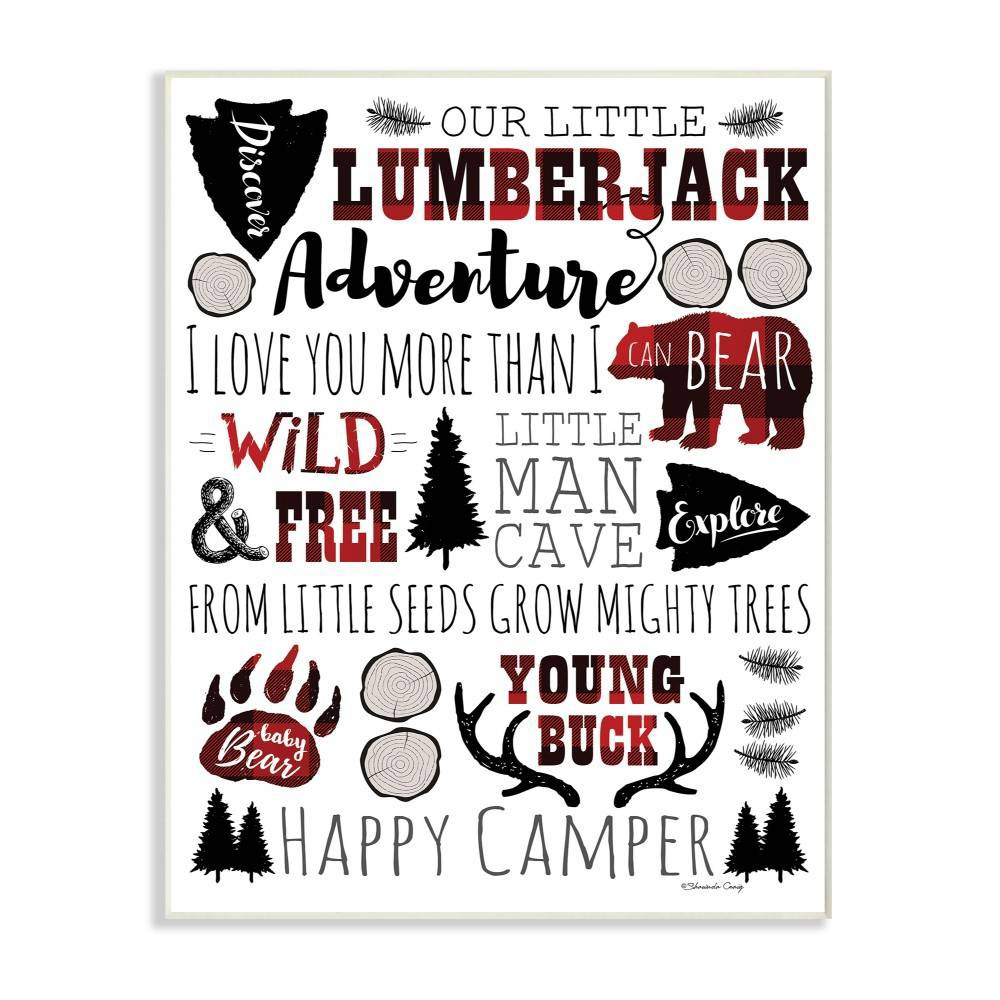 """Image of """"10""""""""x0.5""""""""x15"""""""" Our Little Lumberjack Typography Wall Plaque Art - Stupell Industries"""""""