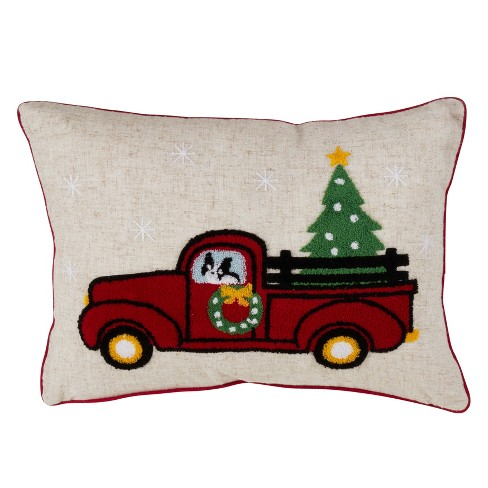 Vintage Truck Holiday Oversize Lumbar Pillow Tan - Saro Lifestyle - image 1 of 3