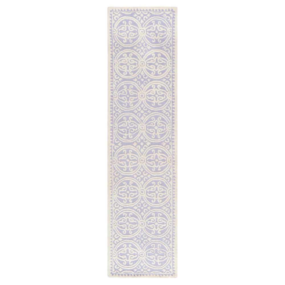 Lavender/Ivory (Purple/Ivory) Geometric Tufted Runner 2'6X8' - Safavieh