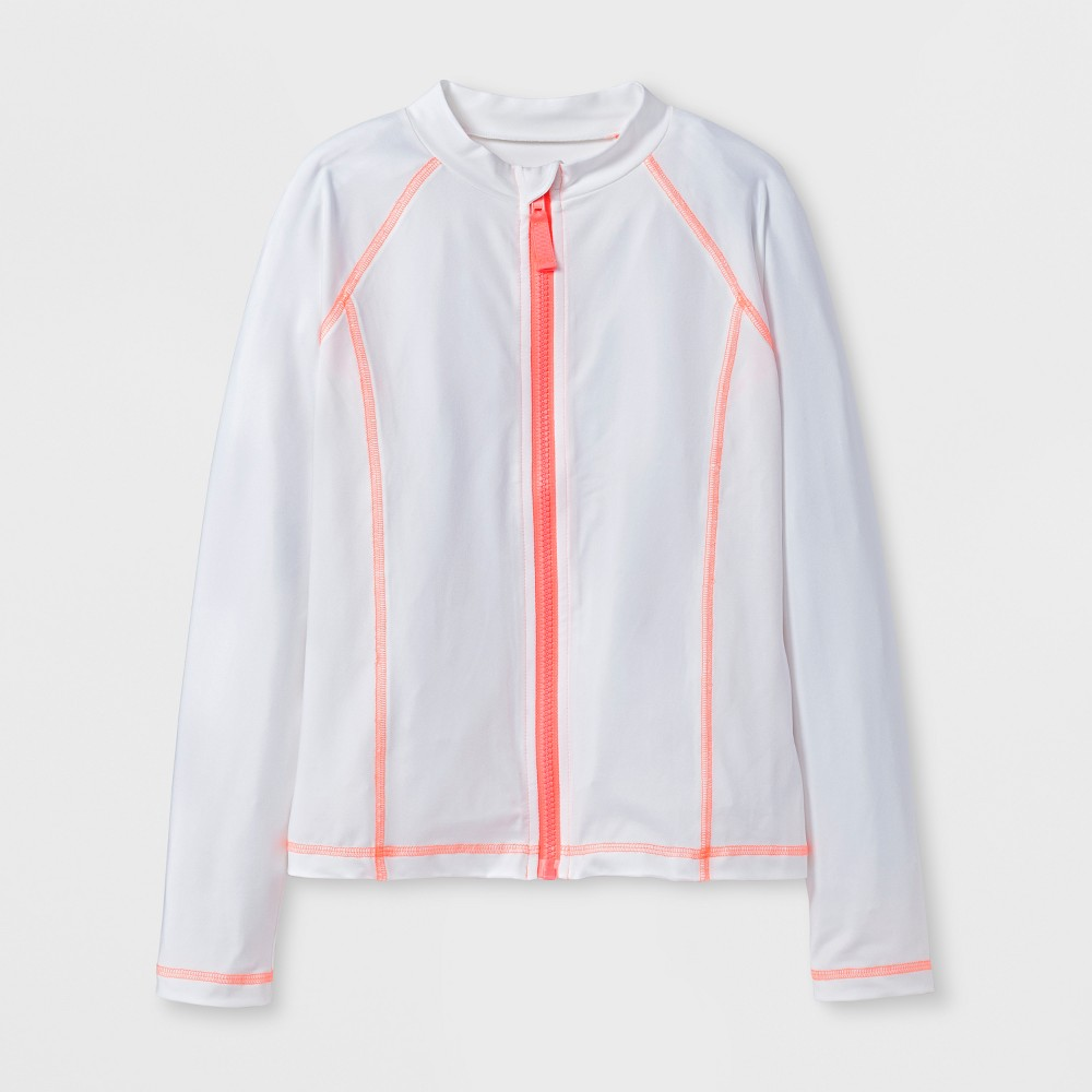 Girls' Long Sleeve Full Zip Rashguard - Cat & Jack White M