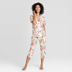 Women's Floral Print Beautifully Soft Short Sleeve Notch Collar and Crop Pajama Set - Stars Above™ Cream