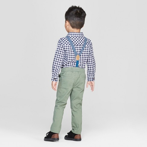 b659f08c Toddler Boys' 3pc Gingham Shirt and Chinos Suspenders Set - Cat & Jack™  Blue/Olive