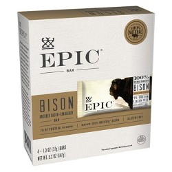 EPIC Bison Uncured Bacon & Cranberry Nutrition Bar - 5.2oz 4ct