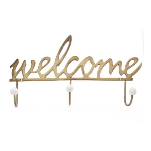 Welcome Wall Hook Gold - A&B Home - image 1 of 1