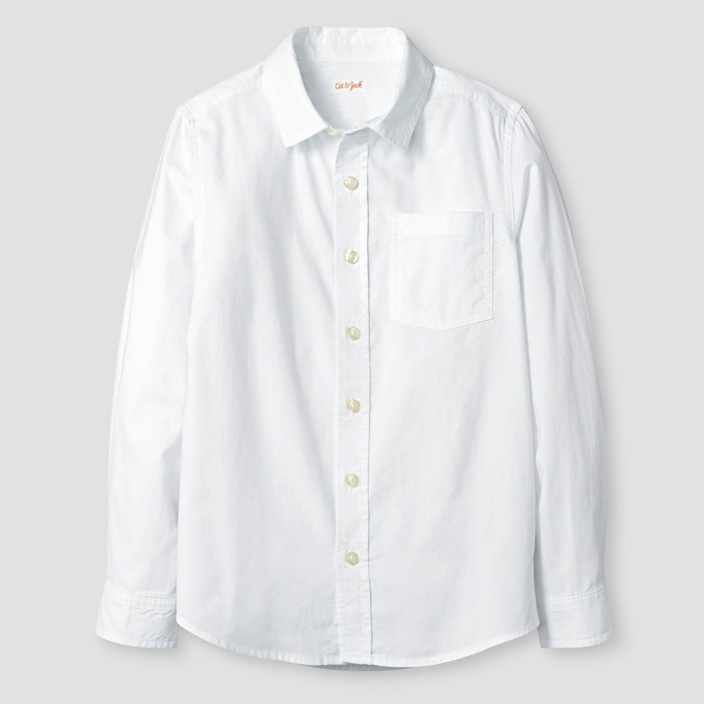 Image of Boys' Long Sleeve Button-Down Oxford Shirt - Cat & Jack White XS, Boy's