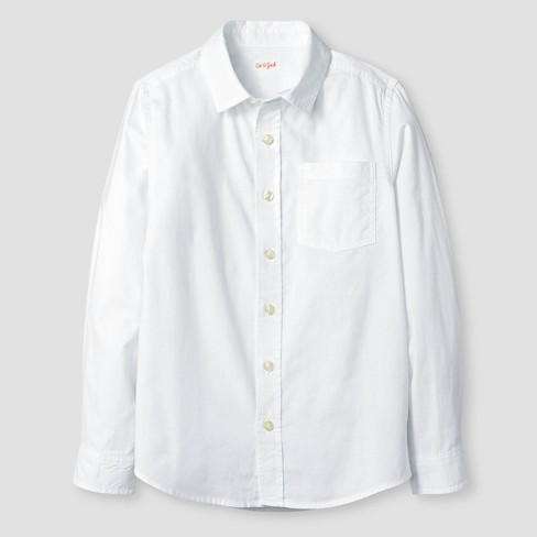 Boys' Long Sleeve Button-Down Oxford Shirt - Cat & Jack™ White - image 1 of 2