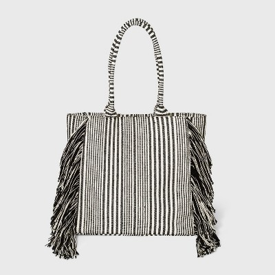 Striped Boxy Tote Handbag - Universal Thread™ Black/White