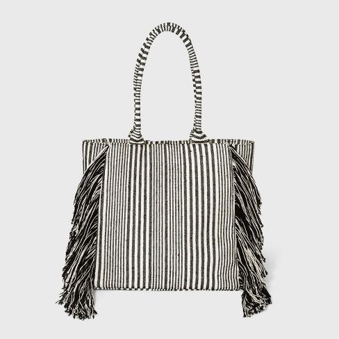 Striped Boxy Tote Handbag - Universal Thread™ Black/White - image 1 of 3