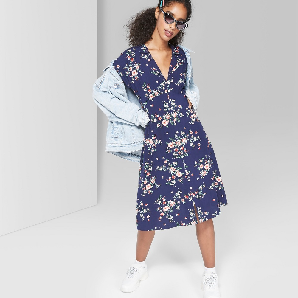 Women's Floral Print Short Sleeve Button-Front Midi Dress - Wild Fable Navy S, Blue