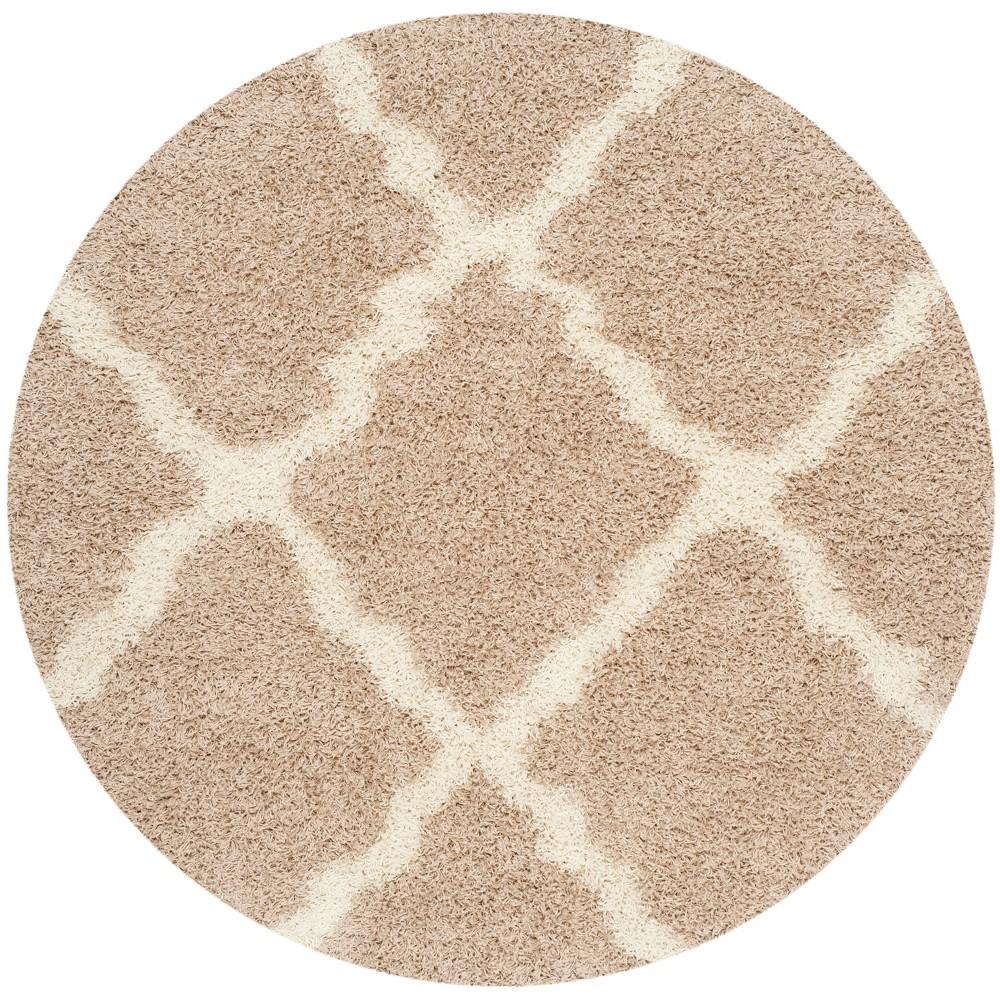 6' Quatrefoil Design Loomed Round Area Rug Beige/Ivory - Safavieh
