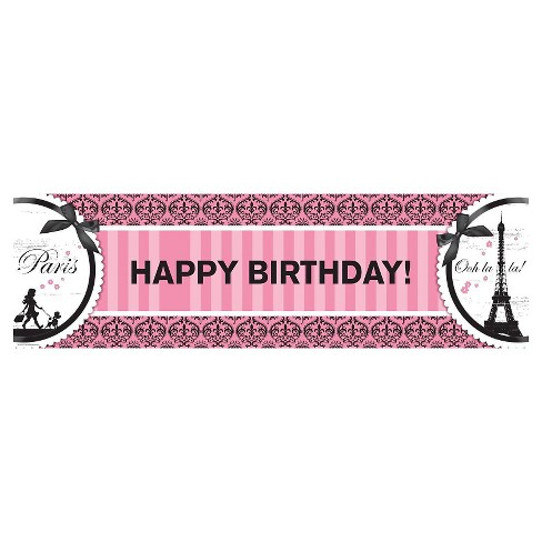 Paris Damask Birthday Banner - image 1 of 1