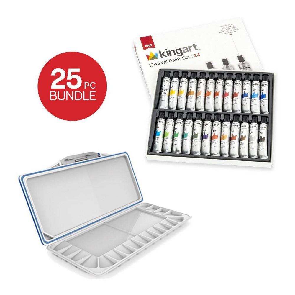 Image of Kingart 25ct Oil Paint w/Plastic Storage Pallet Bundle