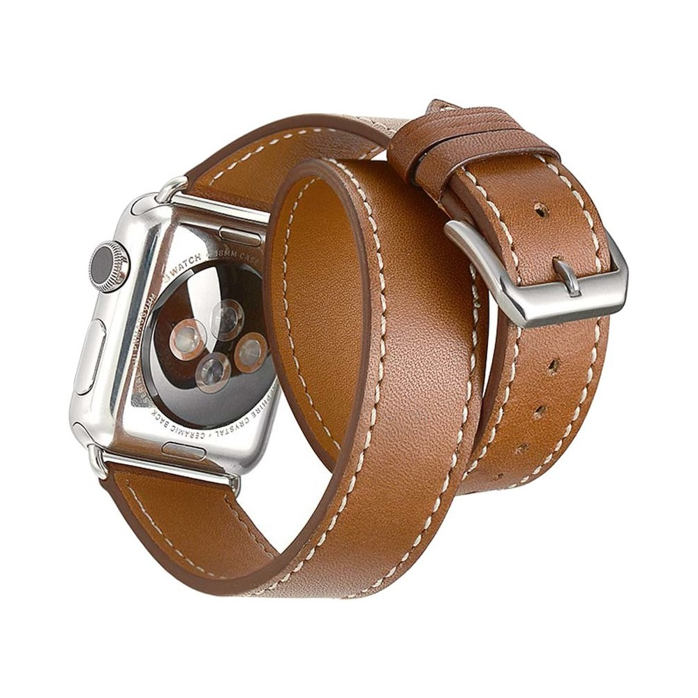 iPM Genuine Leather Double Wrap Replacement Watch Band 38mm - Brown, Adult Unisex