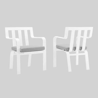 2pc Baxley Outdoor Patio Aluminum Armchair White - Modway