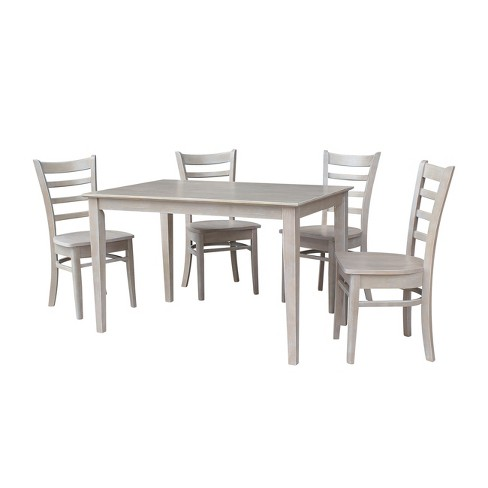 """Solid Wood 30"""" X 48"""" Dining Table and 4 Emily Chairs Washed Gray Taupe (5pc Set) - International Concepts - image 1 of 4"""