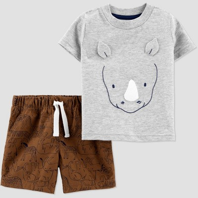 Baby Boys' 2pc Rhino Top & Bottom Set - Just One You® made by carter's Gray/Brown 3M