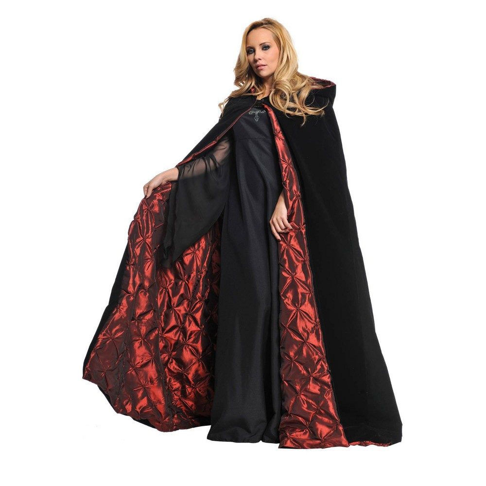 "Image of ""Deluxe Velvet Cape Black 63"""" - One Size, Red Black"""
