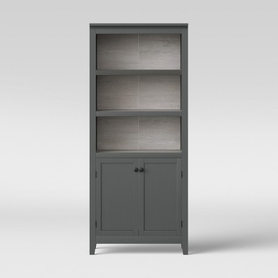 72  Carson 5 Shelf Bookcase with Doors Gray - Threshold™