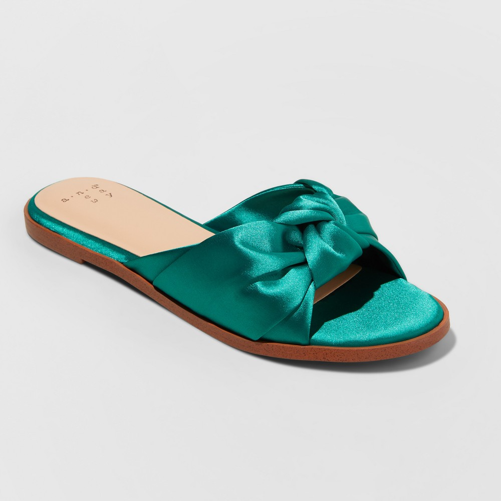 Women's Stacia Knotted Satin Slide Sandals - A New Day Green 5.5
