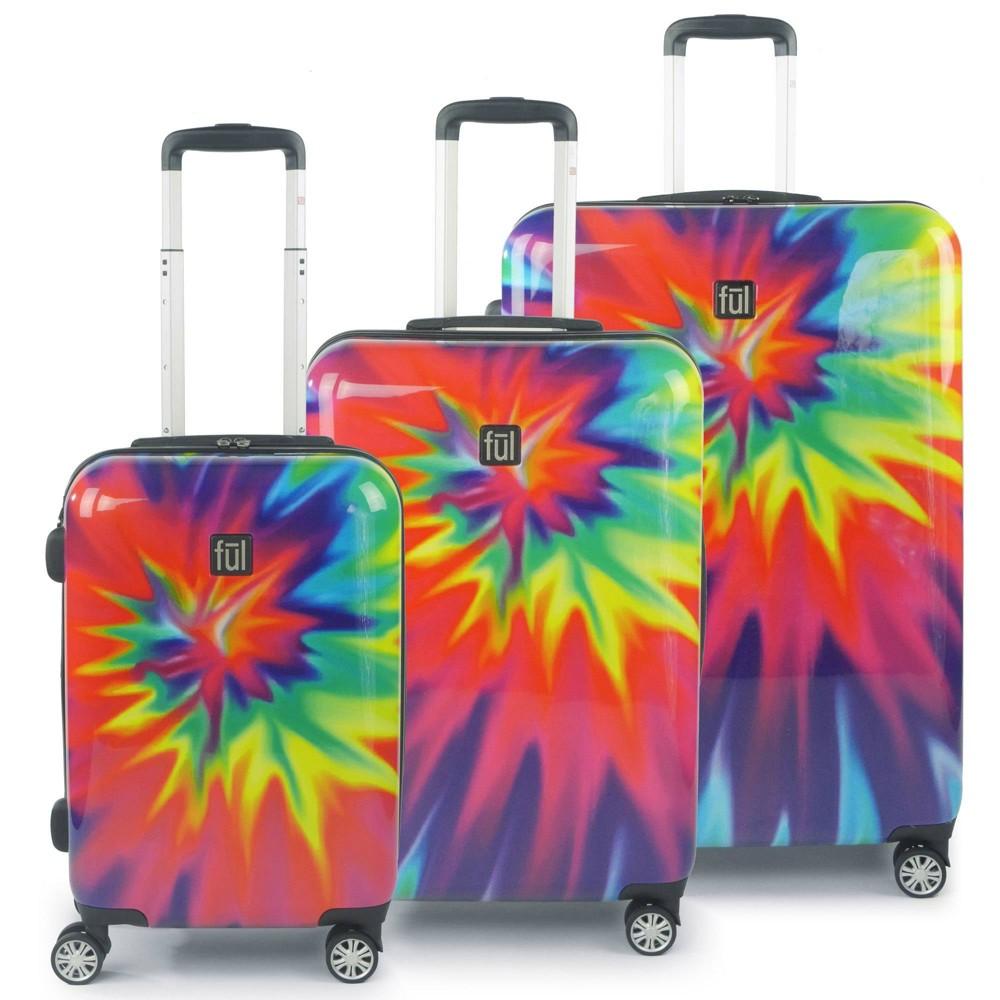 Ful 3pc Hardside Spinner Luggage Set Tiedye Swirl