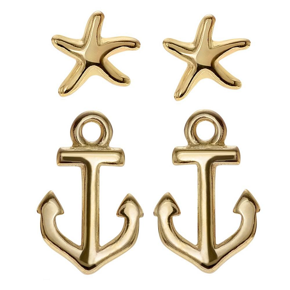 Women's Journee Collection Nautical Stud Earrings Set in Sterling Silver - Silver