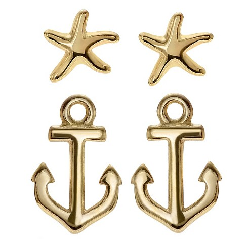 Women's Journee Collection Nautical Stud Earrings Set in Sterling Silver - Silver - image 1 of 2