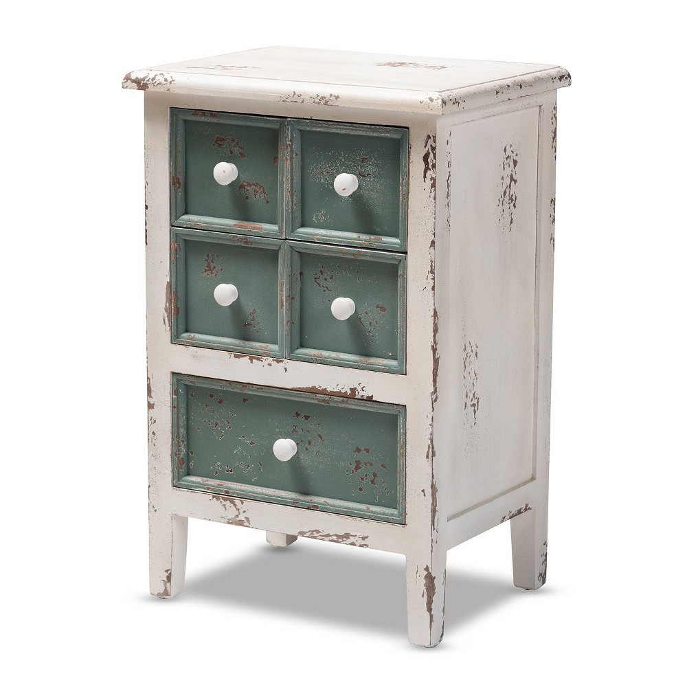 5 Drawer Angeline Distressed & Finished Wood Accent Chest Teal (Blue) - Baxton Studio