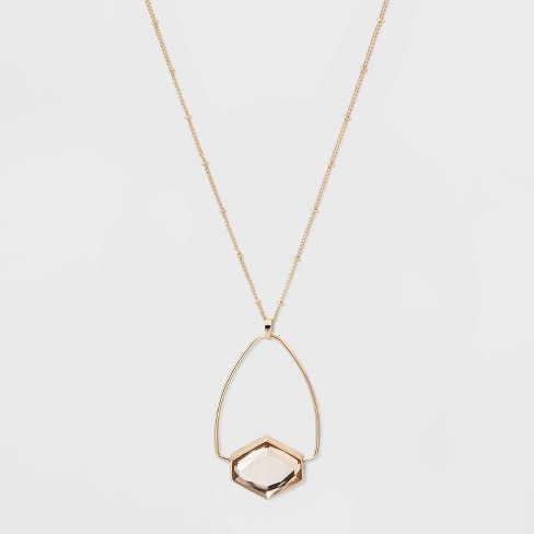 Wire Frame Hexagon Pendant Necklace - A New Day™ Light Pink - image 1 of 2