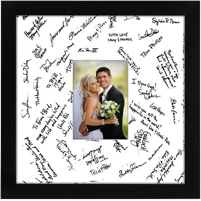"""Americanflat Wedding Signature Picture Frame - MDF with Lead Free Polished Glass - Wall Mounted - 14"""" x 14"""" - 1 or 10 Pack"""