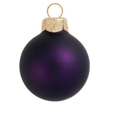 "Northlight 28ct Matte Glass Ball Christmas Ornament Set 2"" - Purple"