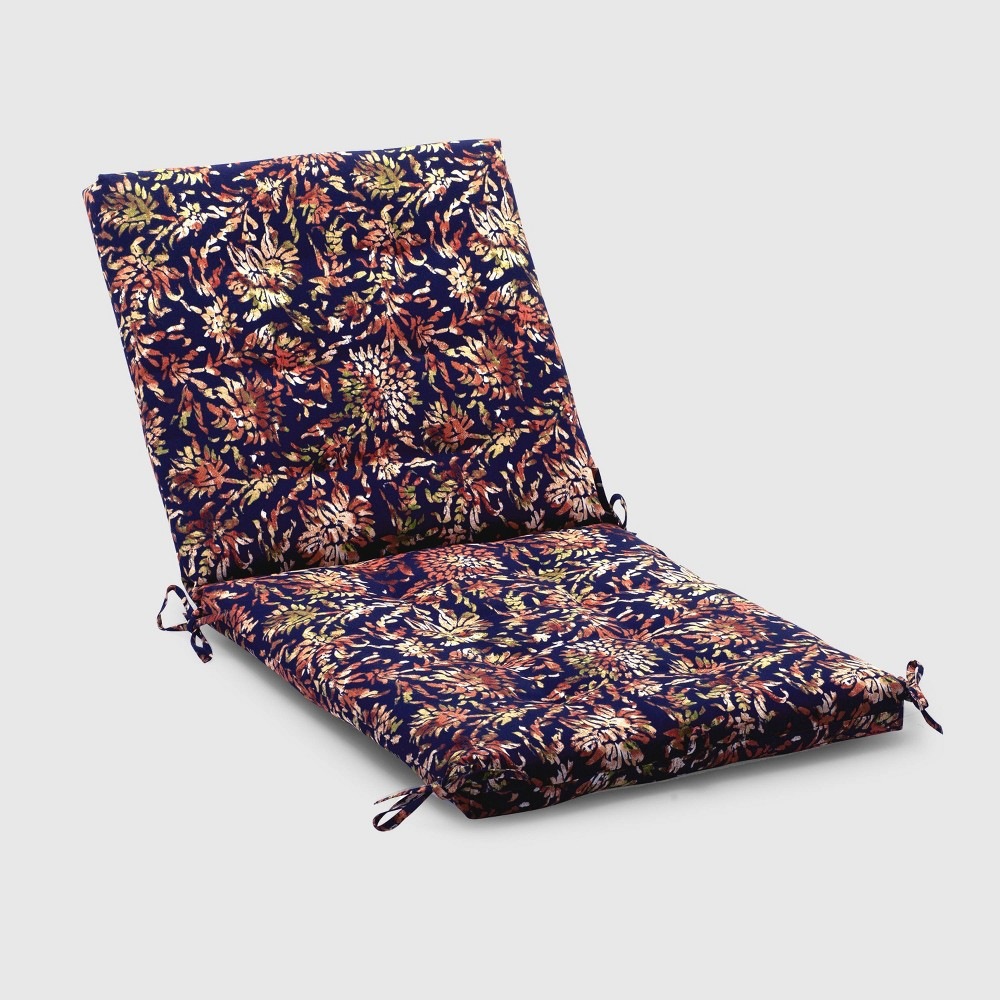 Watercolor Dahlia Outdoor Tufted Chair Cushion Navy (Blue) - Threshold