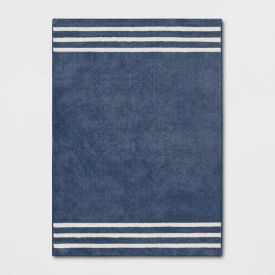 5'x7' Border Striped Rug Navy - Pillowfort™