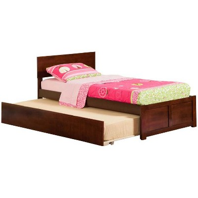 Orlando Twin Flat Panel Foot Board w/ Urban Trundle Antique Walnut - Atlantic Furniture