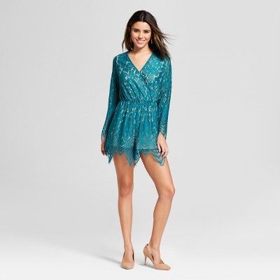 36ab05fc52eb Women s Lace Tie Back Long Sleeve Romper - Xhilaration™   Target