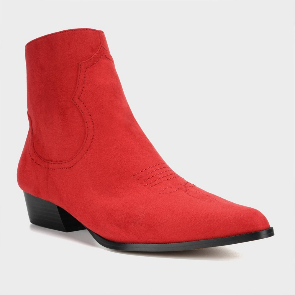 Women's Anessa Microsuede Western Bootie - Who What Wear Red 11